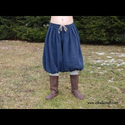 Short Viking trousers from linen- dark blue