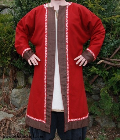 Red woolen kaftan with silk and Birka braid