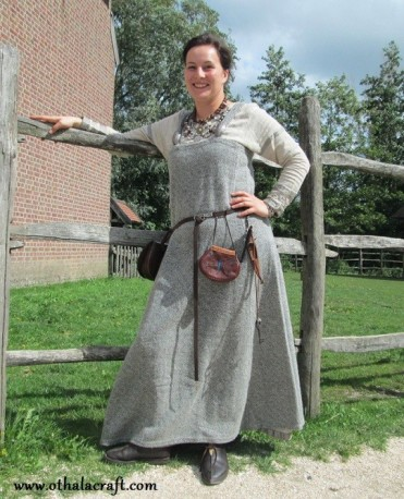 Grey Viking apron dress from hand made diamond wool