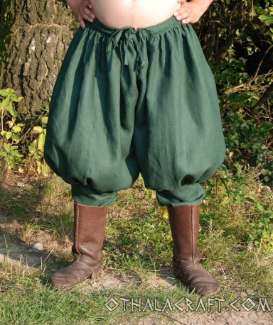 Rus Viking trousers from linen - dark green