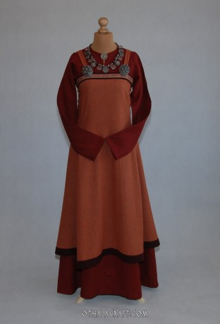 Viking linen dress, woolen apron dress