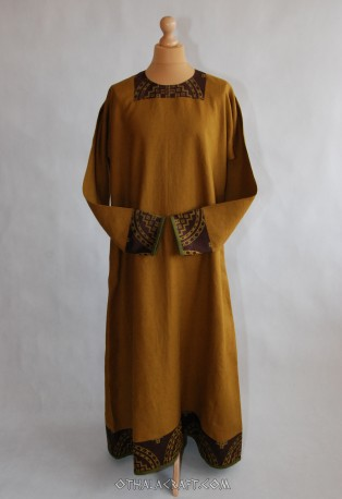 Byzantine dress - linen dress with stamp printed silk