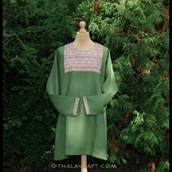 Linen Viking tunic with brocade silk