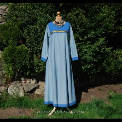 Blue linen dress with silk