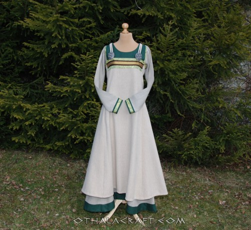 Viking dress and apron dress with brocaded silk