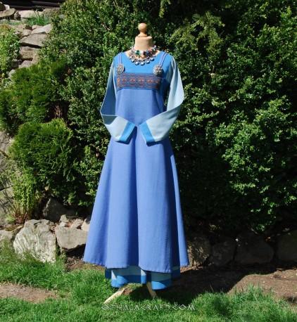Viking apron dress with silk