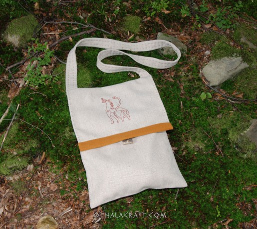 Linen bag with embroidery motif from a Gotland