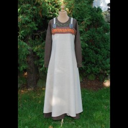Viking apron dress with silk and embroidery