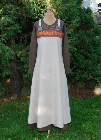 Blue woolen Viking apron dress with silk and embroidery