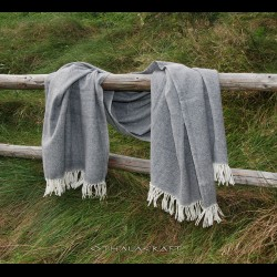 Herring bone pattern blanket - natural gray