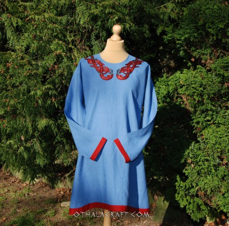 Dark blue linen tunic with four embroidery for Viking