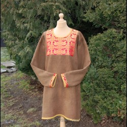 Brown, plant dyed tunic with brocaded silk