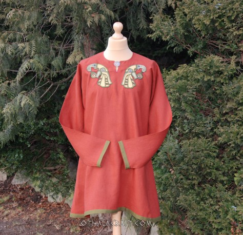 Brown woolen tunic with Ravens embroidery