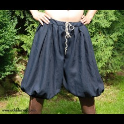 Short Viking trousers from dark blue linen