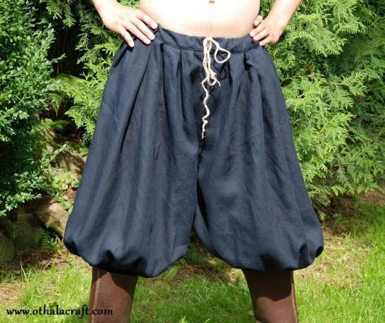 Short Rus Viking trousers from dark blue linen - XL size