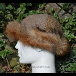Viking hat -two colors, plant dyed, diamond wool