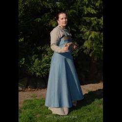 Viking apron dress with brocade silk