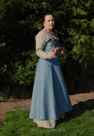Brown woolen Viking apron dress with embriodery
