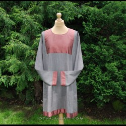 Viking brown linen tunic with silk, early medieval
