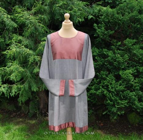 Dark blue linen tunic with silk