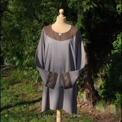 Linen Viking tunic with Mammen style embroidery, early medieval