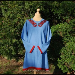 Viking blue linen tunic with four embroidery, early medieval