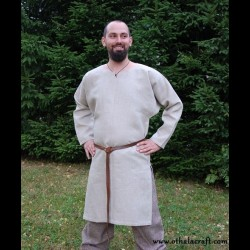 Viking simple linen shirt with cut at side, early medieval