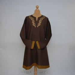 Brown linen tunic with embroidery, Viking,early medieval