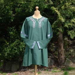 Linen tunic for Viking with embroidery, early medieval