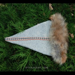 Brown triangle hat with tablet braid