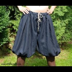 Short Viking trousers from dark blue linen